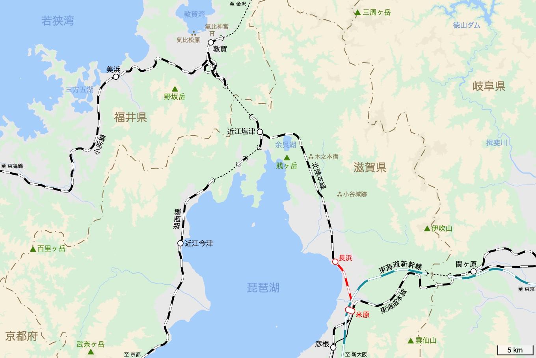 北陸本線の旅 1日目 旅行記&乗車記の地図。