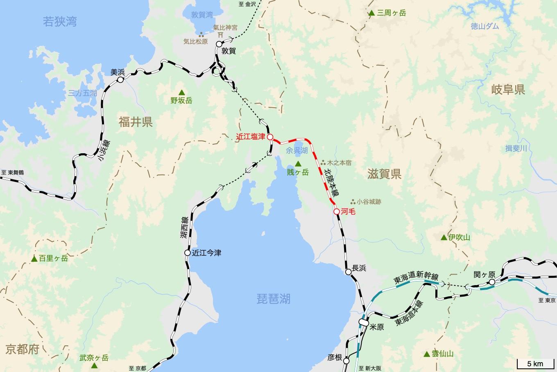 北陸本線の旅 3日目 旅行記&乗車記の地図。