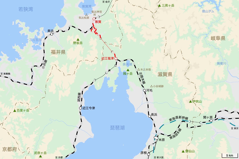 北陸本線の旅 4日目 旅行記&乗車記の地図。