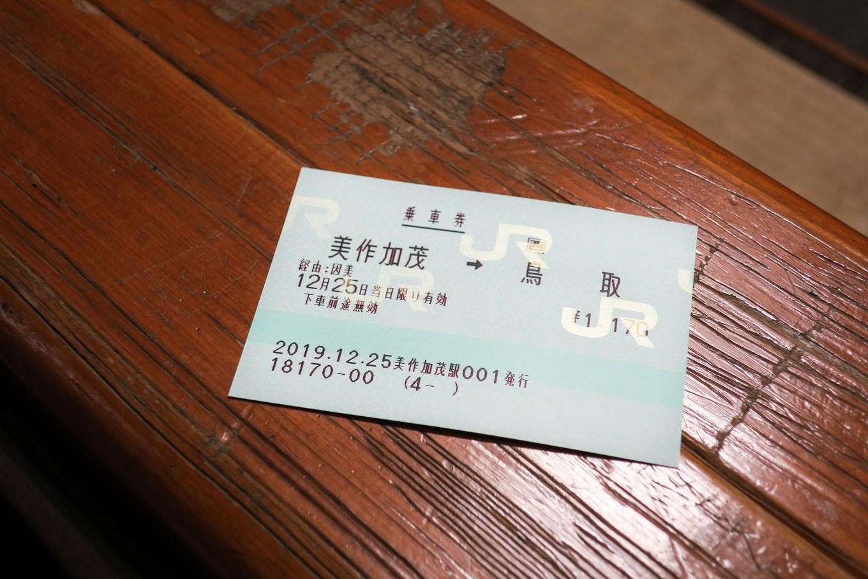 美作河井から鳥取までの乗車券。