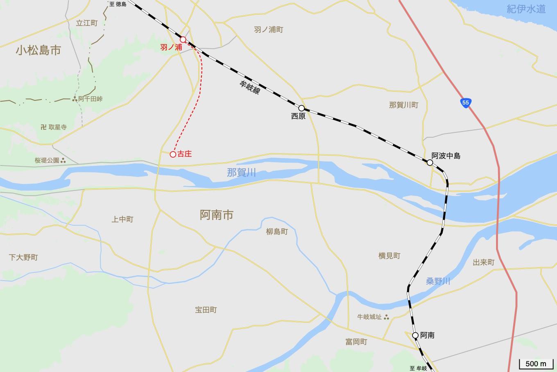 古庄支線の地図。
