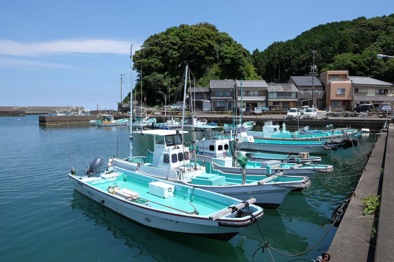 鞆奥漁港と背後にある愛宕山。