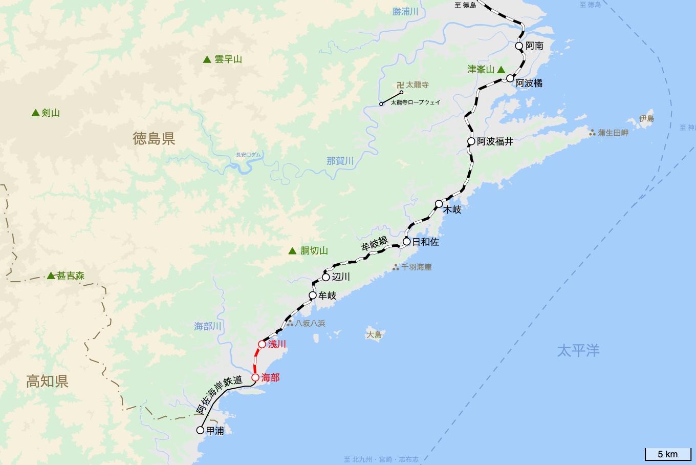 今回の乗車区間を記した地図。