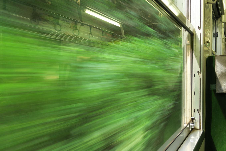 普通列車の海部行き4523Dの、車窓を流れていく緑。