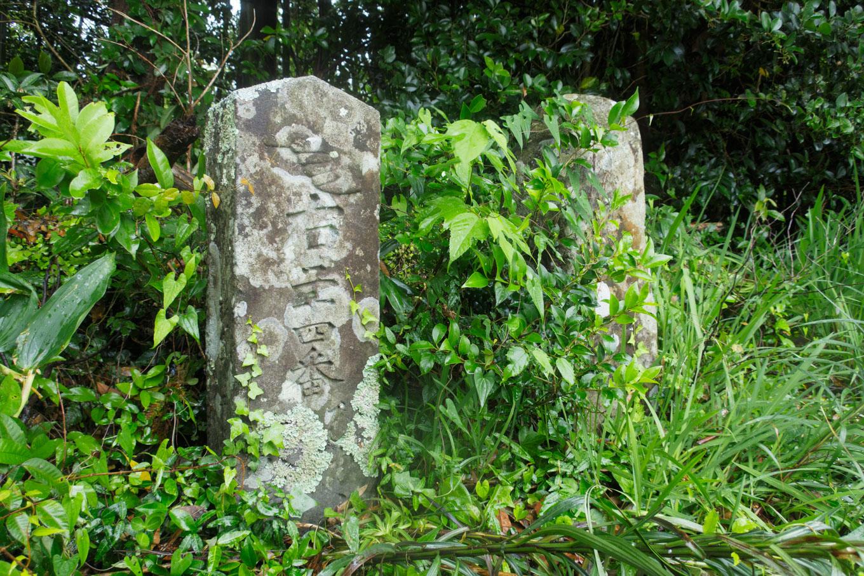 国道脇に佇む古めかしい遍路道標。最御崎寺を指している。