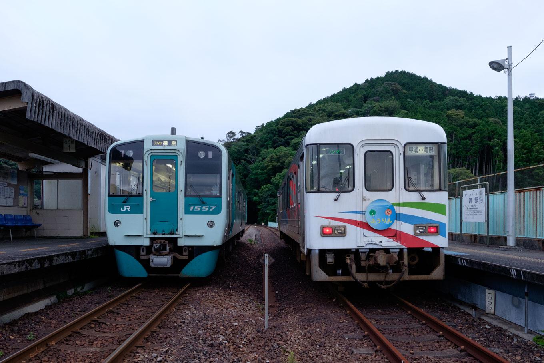 左側に徳島行き 4580D、右側に宍喰行き 5751D。